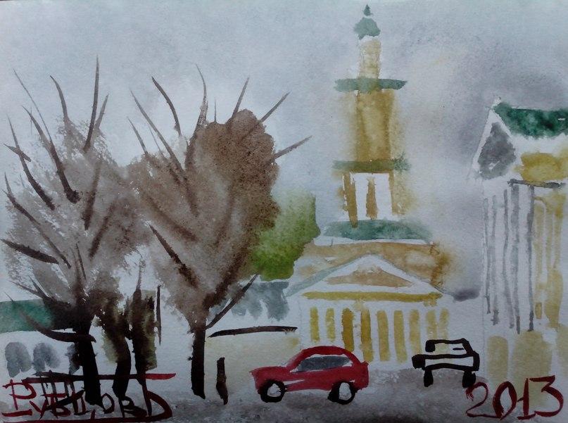 Сусанинская площадь в Костроме и пожарная каланча