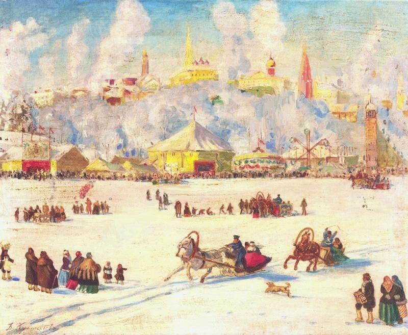 Борис Кустодиев. Зимнее гулянье на реке.