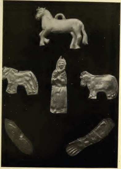 Silver or tin tokens which the peasants hang on the ikons to remind gods of points in their prayers - that the cow or th horse is ill, that their eyesight is faileing, or an arm is bad, etc., etc.